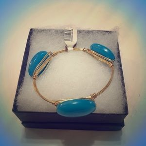 Turquoise colored Stone and Gold Bangle Bracelet